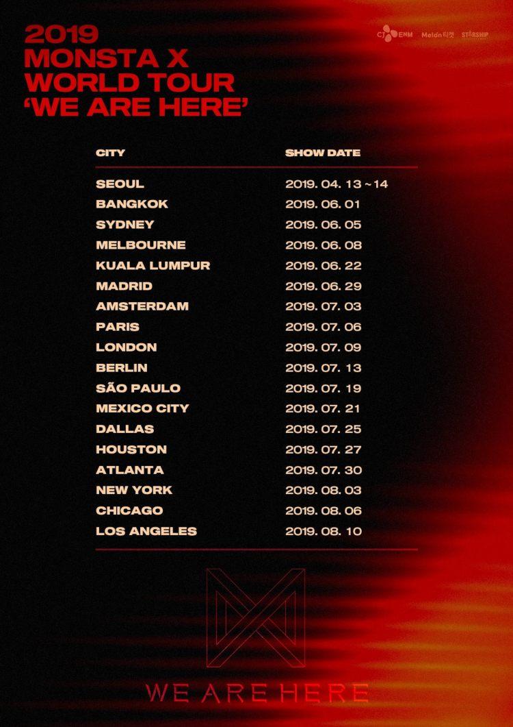 MONSTA X (''Aligator'', ''Shoot Out'') gehen auch in diesem Jahr auf große Welttour und beehren mit ihrer 2019 MONSTA X WORLD TOUR 'WE ARE HERE' dabei wieder einmal Europa und Deutschland >> Otaji | #KPop #KRock #JPop #JRock #Mandopop