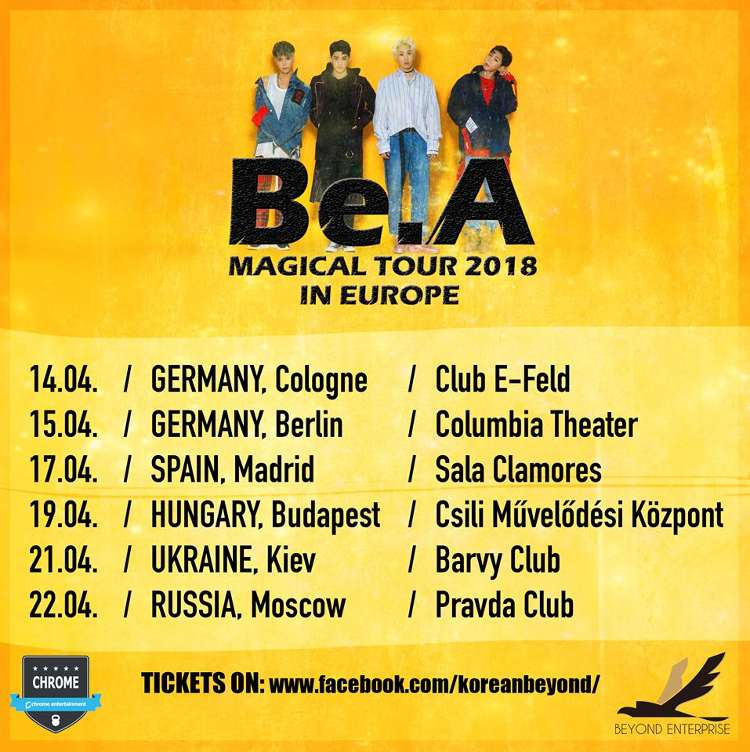 "Termine der ""Be.A MAGICAL TOUR 2018 IN EUROPE""."
