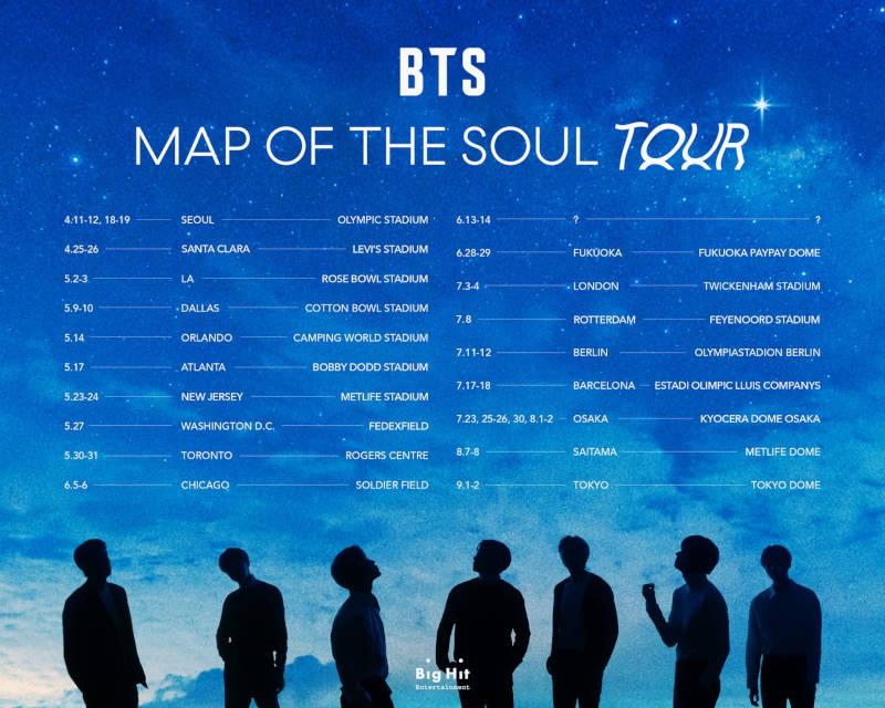 BTS (''ON'', ''FAKE LOVE'', ''Boy With Luv'') geht auf Welttour! Mit ihrer BTS MAP OF THE SOUL TOUR treten sie in Deutschland auf. 11.-12.07.2020 - Olympiastadion - Berlin. Tickets ab 20.03.2020 >> OTAJI | #KPop #BTS #LIVENATION #BigHit #Berlin #Tickets