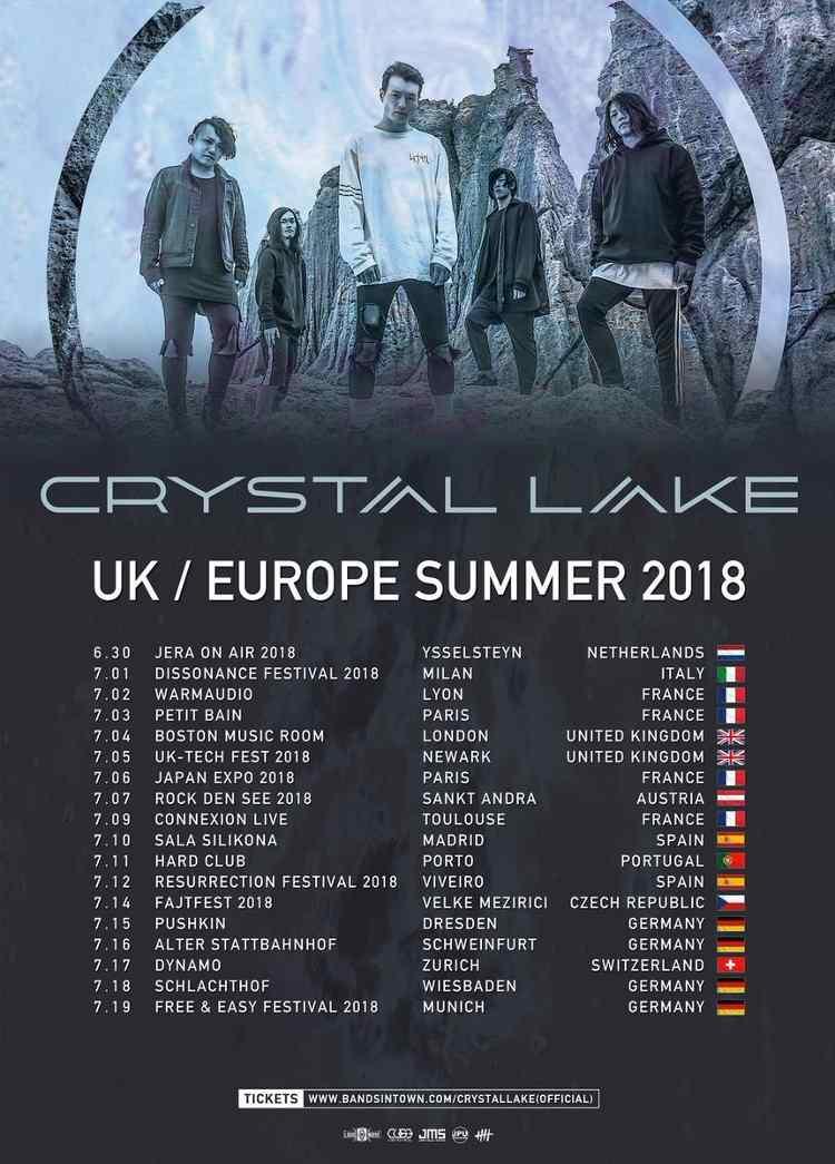 "Crystal Lake mit ""UK / EUROPE SUMMER TOUR 2018"" in Deutschland."