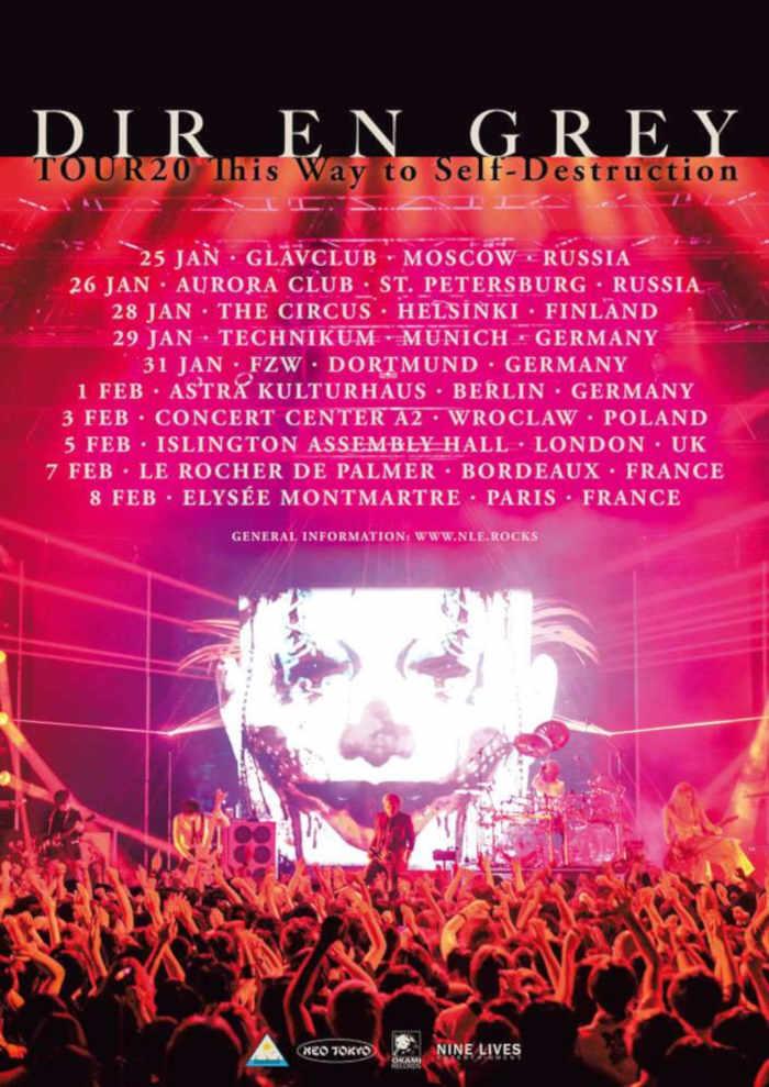 DIR EN GREY (''World of Mercy'', ''Lotus'', ''Rinkaku'') kommen mit ihrer  Europe Tour 2020 ''TOUR20 This Way to Self-Destruction'' im Januar/Februar 2020 nach München, Dortmund und Berlin >> Otaji | #JRock #Japan #DIRENGREY #OkamiRecords #NINELIVES
