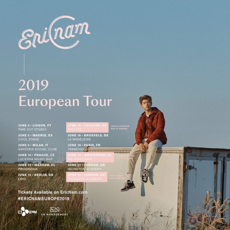 Das international beliebte koreanisch-amerikanische Multitalent Eric Nam (Honestly) kommt mit seiner ''Eric Nam 2019 European Tour'' nach Europa und im Juni dieses Jahres für gleich zwei Konzerte nach Deutschland >> Otaji   #JPop #KPop #Mandopop