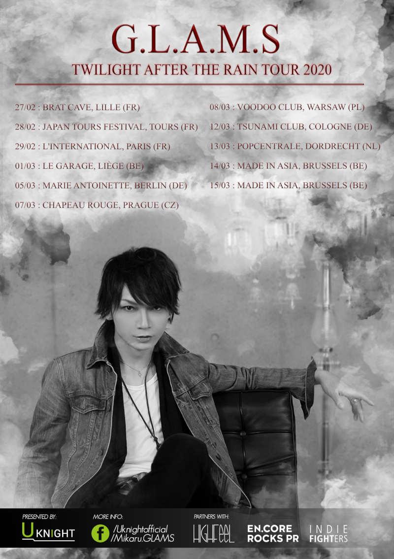 G.L.A.M.S (''In Endless Rainfall'', ''Forgive Me'') kommen mit ihrer ''G.L.A.M.S - TWILIGHT AFTER THE RAIN Europe Tour 2020'' nach Europa und Deutschland >> OTAJI | #JRock #Japan #Europa #Rock #Deutschland #Berlin #Köln #GLAMS #Mikaru #Uknight #Konzert