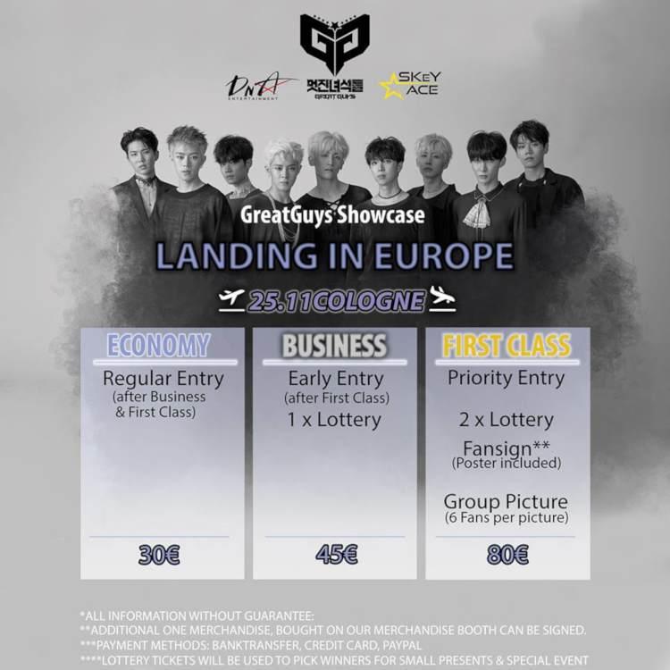 Die südkoreanische Boygroup GreatGuys tretet, dank des Veranstalters SKeY ACE, mit ihrer ''GreatGuys Landing in Europe''-Tour am 25. November 2018 in Köln auf.