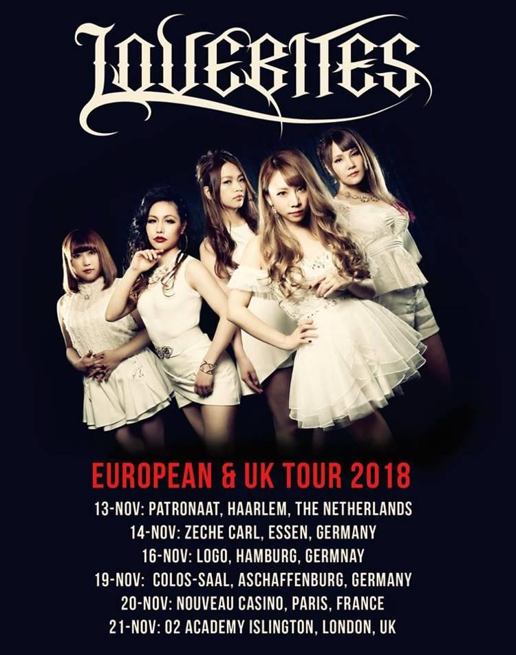 LOVEBITES - in der japanischen Metal-Szene nicht mehr wegzudenken - ziehen auch international immer mehr Aufmerksamkeit auf sich. Nach ihrem Auftritt beim legendären Wacken Open Air 2018 touren die fünf Künstlerinnen durch Europa und Deutschland.