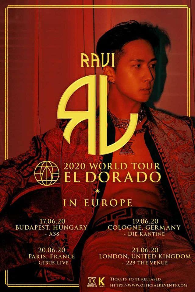 Ravi (''R.EBIRTH'', ''NIRVANA'') geht dieses auf auf Welttour und kommt mit seiner ''RAVI 2020 WORLD TOUR EL DORADO'' nach Europa und Deutschland. 19.06.2020 - Köln - Die Kantine >> OTAJI | #KPop #Ravi #GROOVL1N #Konzert #KEvents #HipHop #Tour