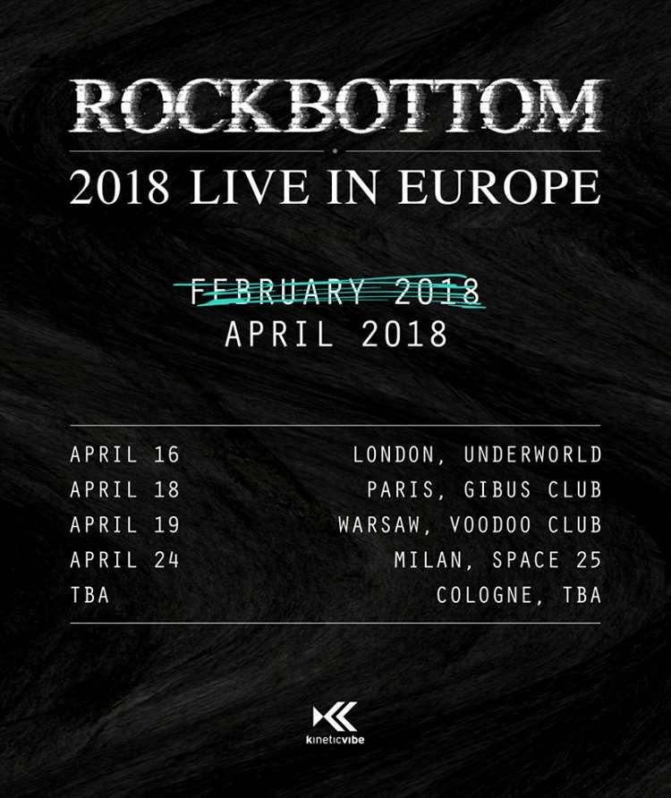 """Die neuen Termine der """"ROCKBOTTOM 2018 LIVE IN EUROPE""""-Tour."""