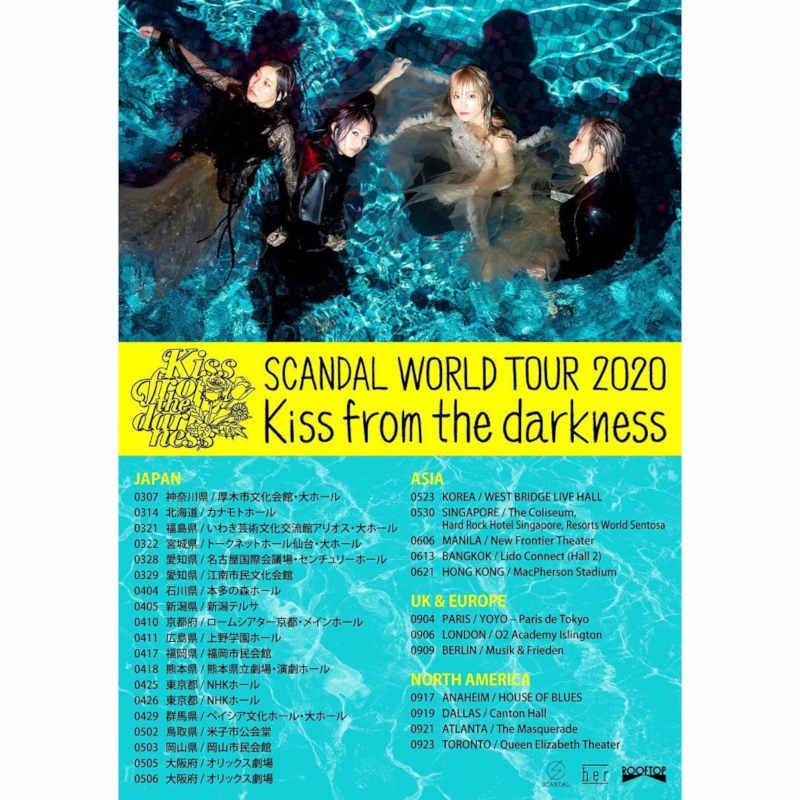 SCANDAL (''Tonight'', ''Shunkan sentimental'') kommt im September 2020 mit ihrer SCANDAL WORLD TOUR 2020 ''Kiss from the darkness'' nach Deutschland - 09.09.2020 - Berlin >> OTAJI | #JRock #SCANDAL #LIVENATION #Welttour #Konzert #Album #Berlin #Charts