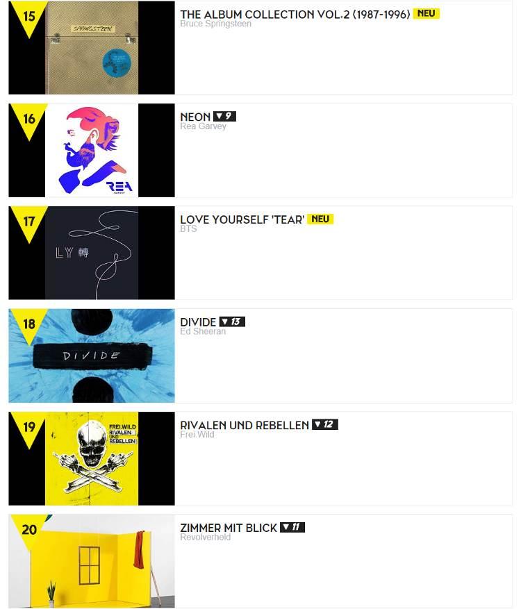 """BTS - """"Love Yourself 轉 Tear"""" in den TOP 20 der deutschen Album-Charts"""