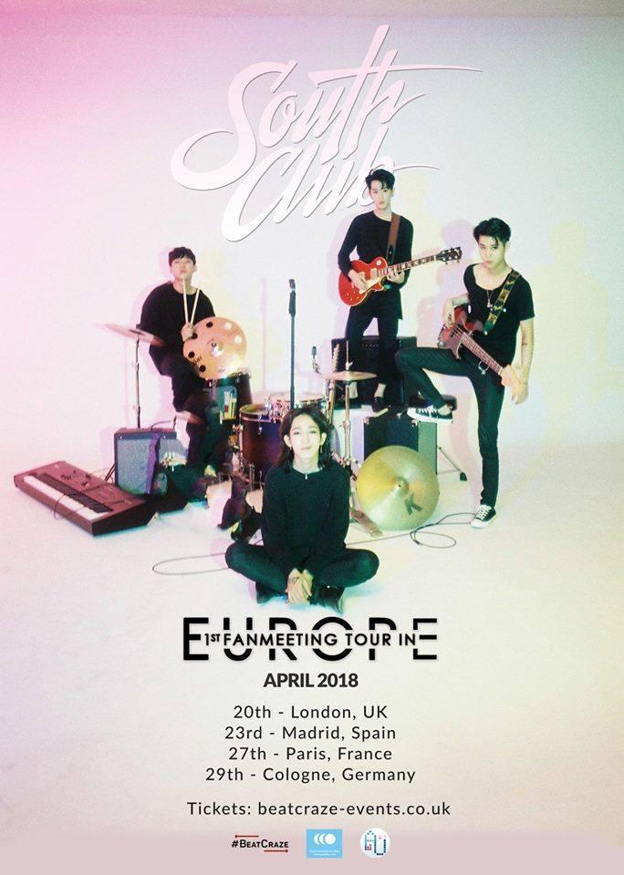 Alle Termine der Europa-Tour von South Club mit Konzert in Deutschland.