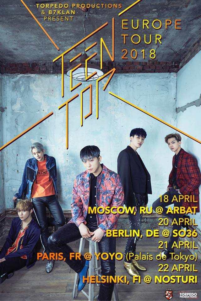 "Termine der ""TEEN TOP EUROPE TOUR 2018""."