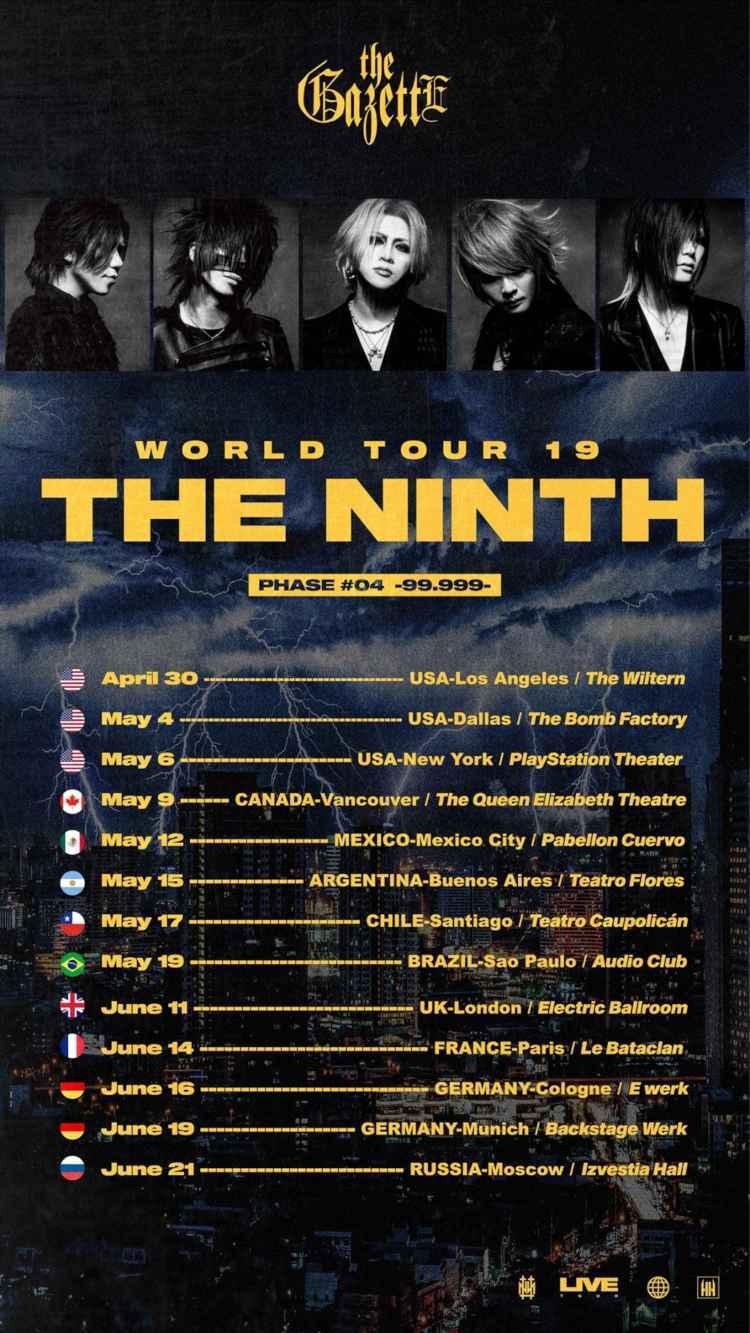 Japans Rock-Export geht wieder auf Welttour: the GazettE touren im Mai & Juni 2019 mit ihrer ''the GazettE WORLD TOUR 19 THE NINTH'' durch Europa und Deutschland (Köln, München) >> Otaji | Magazin für #JPop #JRock #KPop #KRock #Mandopop & asiatische Musik