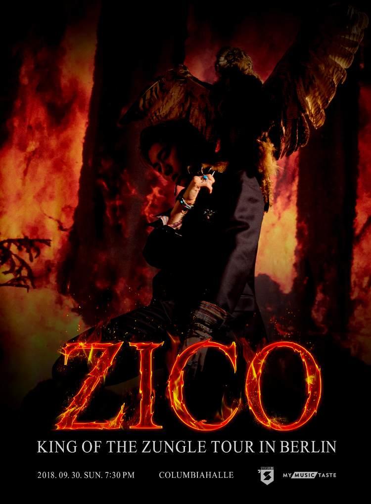 """Der Block B-Sänger ZICO geht erstmals auf Tour. Dank TasteMakers auf der Plattform MyMusicTaste kommt er mit seinerZICO """"King Of the Zungle"""" Tourim September und Oktober dieses Jahres für Konzerte nach Europa und Deutschland."""